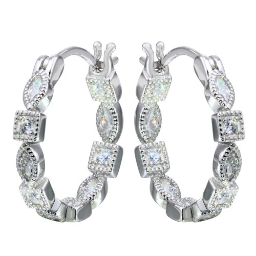 Wholesale Sterling Silver 925 Rhodium Plated Inner and Outer Clear CZ Hoop Earrings - STE01122CLR
