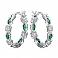 Sterling Silver Rhodium Plated Inner And Outer Green Clear CZ Hoop Earrings - STE01122GRE