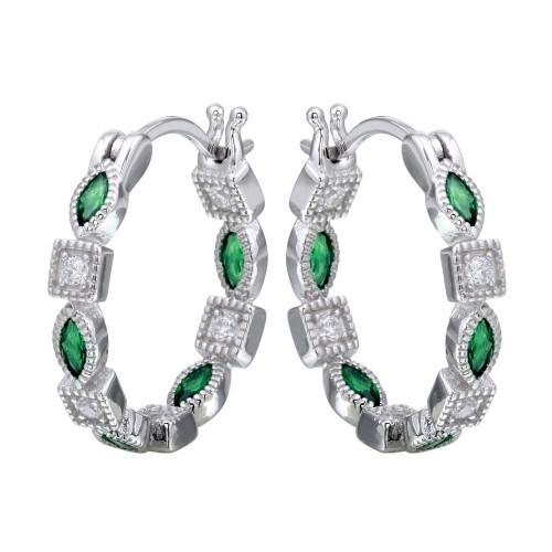 Wholesale Sterling Silver 925 Rhodium Plated Inner and Outer Green Clear CZ Hoop Earrings - STE01122GRN