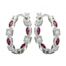 Sterling Silver Rhodium Plated Inner And Outer Red Clear CZ Hoop Earrings - STE01122RED