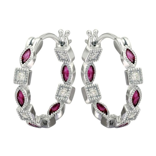 Wholesale Sterling Silver 925 Rhodium Plated Inner and Outer Red Clear CZ Hoop Earrings - STE01122RED