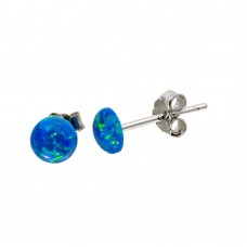 Sterling Silver Rhodium Plated Round Blue CZ Stud Earrings - STE01124BLU