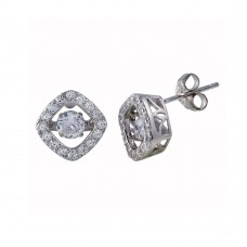 Wholesale Sterling Silver 925 Rhodium Plated Square Dancing CZ Stud Earrings - STE01126