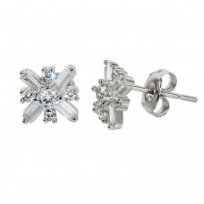 Wholesale Sterling Silver 925 Rhodium Plated CZ Snow Flakes Earrings - STE01136