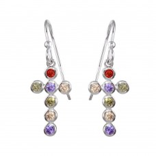Wholesale Sterling Silver 925 Rhodium Plated Multi-Colored CZ Cross Earrings - STE01137