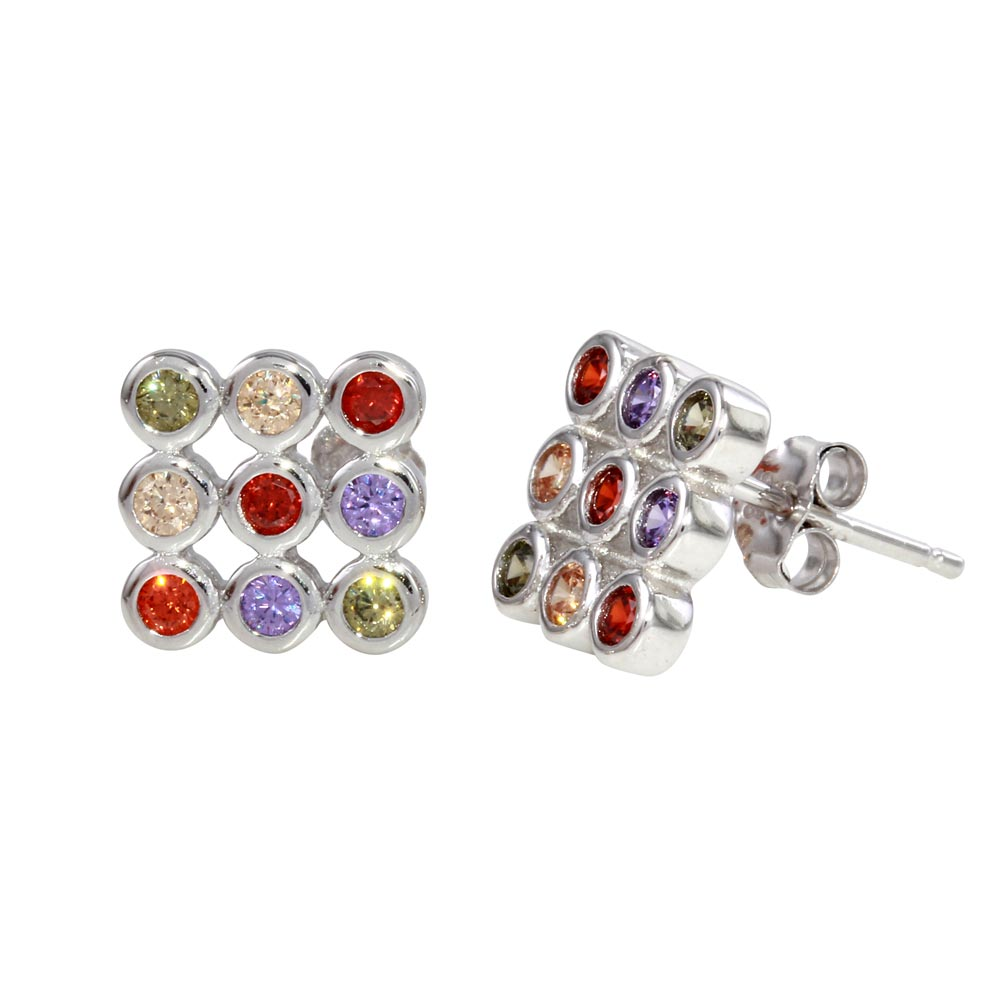 925 Sterling Silver Rhodium-plated CZ Square Post Earrings