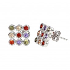 Wholesale Sterling Silver 925 Rhodium Plated Multi-Colored CZ Square Stud Earrings - STE01138