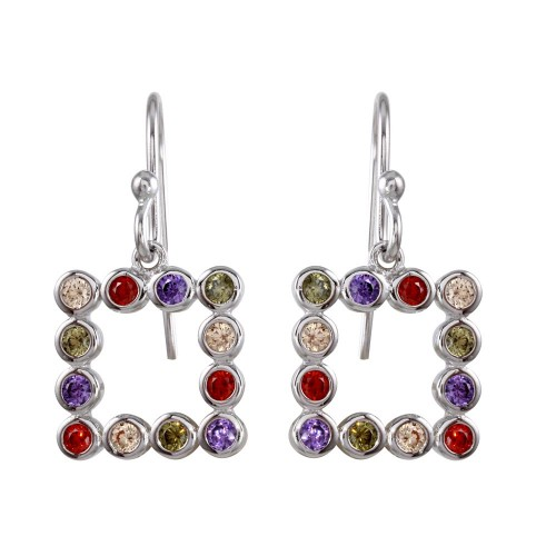 Wholesale Sterling Silver 925 Rhodium Plated Multi-Colored CZ Open Square Earrings - STE01139