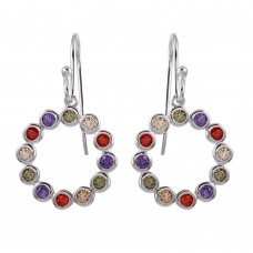 Wholesale Sterling Silver 925 Rhodium Plated Multi-Colored CZ Open Circle Earrings - STE01140