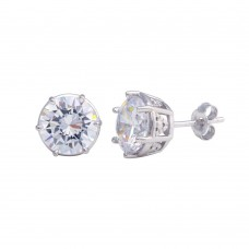 Wholesale Sterling Silver 925 Rhodium Plated Crown Setting CZ  Stud Earrings - STE01145