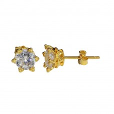 Wholesale Sterling Silver 925 Gold Plated CZ Star Stud Earrings - STE01148GP