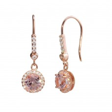 Wholesale Sterling Silver 925 Rose Gold Plated Round CZ Dangling Earrings - STE01152RGP