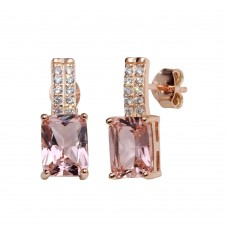 Wholesale Sterling Silver 925 Rose Gold Plated Mini Dangling Earrings with Clear and Pink CZ - STE01154RGP