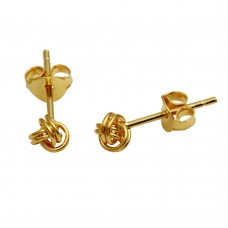 Wholesale Sterling Silver 925 Gold Plated Mini Knot Stud Earrings - STE01155GP