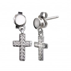 Wholesale Sterling Silver 925 Rhodium Plated Mini Dangling Cross Earrings - STE01156RH