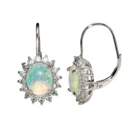 Wholesale Sterling Silver 925 Rhodium Plated Dangling Synthetic Opal Earrings - STE01161RH
