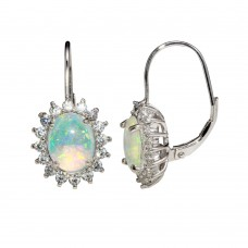Wholesale Sterling Silver 925 Rhodium Plated Dangling Synthetic Opal Necklace - STE01161RH