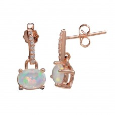 Wholesale Sterling Silver 925 Rose Gold Plated Mini Dangling Earrings with CZ and Synthetic Opal - STE01162RGP