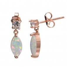 Wholesale Sterling Silver 925 Rose Gold Plated Mini Dangling Oval Earrings with CZ and Synthetic Pearl - STE01163RGP