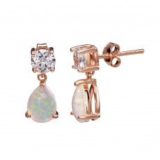 Wholesale Sterling Silver 925 Rose Gold Plated Mini Dangling Teardrop Earrings with CZ and Synthetic Opal - STE01164RGP