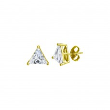 Wholesale Sterling Silver 925 Gold Plated CZ Triangle Shape Stud Earrings 7.5mm - STE01170GP