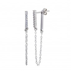 Wholesale Sterling Silver 925 Rhodium Plated CZ Bar Dangling Chain  Earrings - STE01172RH