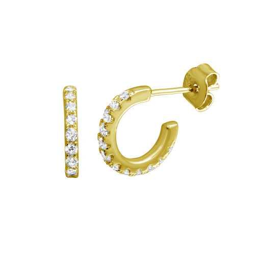 Wholesale Sterling Silver 925 Gold Plated Huggie Earrings with CZ - STE01173GP