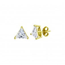Wholesale Sterling Silver 925 Gold Plated CZ Triangle Shape Stud Earrings 8.8mm - STE01176GP