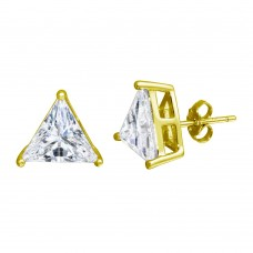 Wholesale Sterling Silver 925 Gold Plated CZ Triangle Shape Stud Earrings 12mm - STE01178GP