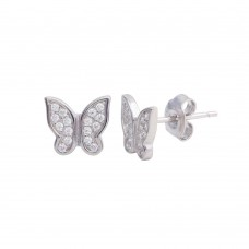 Wholesale Sterling Silver 925 Rhodium Plated Butterfly CZ Stud Earrings - STE01199