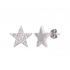 Wholesale Sterling Silver 925 Rhodium Plated CZ Star Stud Earrings - STE01201