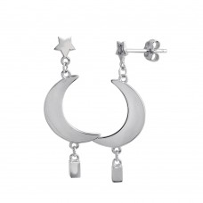 Wholesale Sterling Silver 925 Rhodium Plated Dangling Crescent Earrings - STE01202