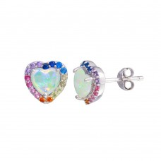 Wholesale Sterling Silver 925 Rhodium Plated Heart Rainbow Multi CZ Stud Earrings 7.5mm - STE01203