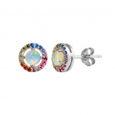 Wholesale Sterling Silver 925 Rhodium Plated Rainbow Multi CZ Stud Earrings 7.5mm - STE01204