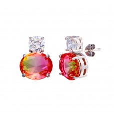 Wholesale Sterling Silver 925 Rhodium Plated Drop Clear and Peach CZ  Stud Earrings - STE01205