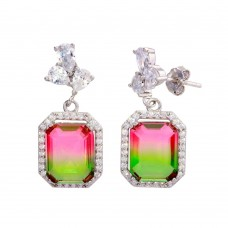 Wholesale Sterling Silver 925 Rhodium Plated Green Pink Gradient CZ Dangling Earrings - STE01206