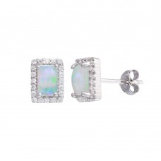 Wholesale Sterling Silver 925 Rhodium Plated Rectangle Open Halo Stud Earrings - STE01207