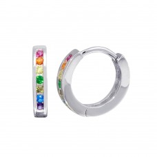 Wholesale Sterling Silver 925 Rhodium Plated Rainbow Multi CZ Huggie Earrings 13.1mm - STE01209