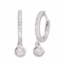 Wholesale Sterling Silver 925 Rhodium Plated Dangling CZ Huggie Earrings - STE01210