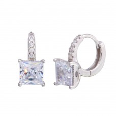 Wholesale Sterling Silver 925 Rhodium Plated Dangling Square CZ Huggie Earrings - STE01214