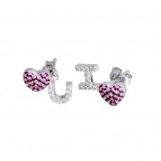Wholesale Sterling Silver 925 Rhodium Plated I Heart U Pink and Clear CZ Stud Earrings - STE01215