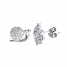 Wholesale Sterling Silver 925 Rhodium Plated Snail CZ  Stud Earrings - STE01216