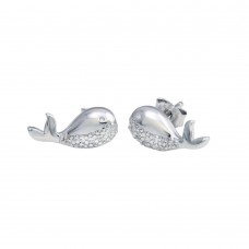 Wholesale Sterling Silver 925 Rhodium Plated Whale CZ Stud Earrings - STE01217