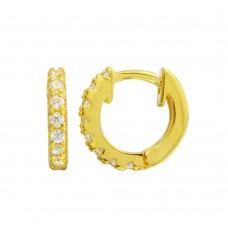 Wholesale Sterling Silver 925 Gold Plated CZ Huggie Earrings 9.3mm - STE01218GP