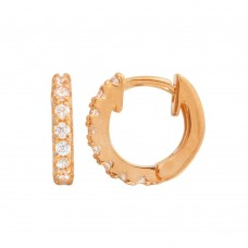 Wholesale Sterling Silver 925 Rose Gold Plated CZ Huggie Earrings 9.3mm - STE01218RGP