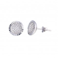 Wholesale Sterling Silver 925 Rhodium Plated CZ Encrusted DC Bowl Shape Stud Earrings - STE01219