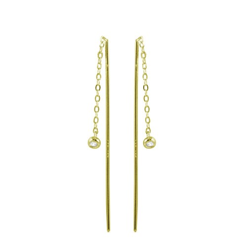 Wholesale Sterling Silver 925 Gold Plated CZ Chain Dangling Earrings - STE01220GP
