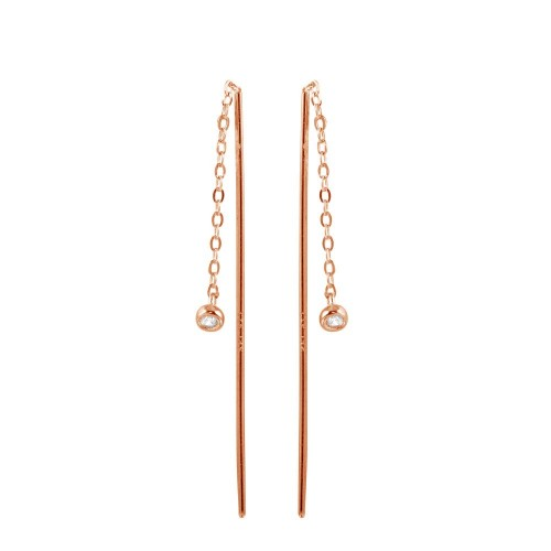Wholesale Sterling Silver 925 Rose Gold Plated CZ Chain Dangling Earrings - STE01220RGP
