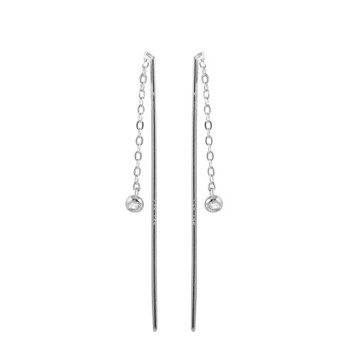Wholesale Sterling Silver 925 Rhodium Plated CZ Chain Dangling Earrings - STE01220