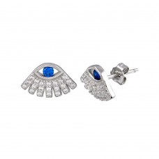 Wholesale Sterling Silver 925 Rhodium Plated Blue and Clear CZ Evil Eye Stud Earrings - STE01235